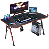 DESINO Gaming Desk 47 inch PC Computer Desk, Home Office Desk Table Gamer Workstation with Cup Holder and Headphone Hook…
