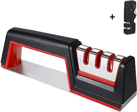 flintronic Afilador de Cuchillos, Afilador de Cuchillos Manual de 3 Etapas, Base de Acero Inoxidable Antideslizante para Kinfe de Cocina, para Cuchillo Santoku, Tijeras (Incluye 1 Pequeño Afilador)