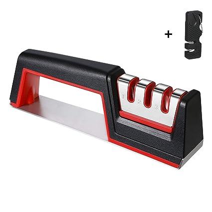 flintronic® Afilador de Cuchillos, Afilador de Cuchillos Manual de 3 Etapas, Base de Acero Inoxidable Antideslizante para Kinfe de Cocina, para ...