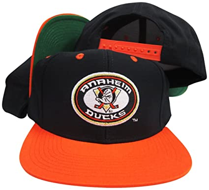 81a4fb4e4e859 Image Unavailable. Image not available for. Color  Reebok Anaheim Mighty  Ducks Black Orange Adjustable Vintage Snapback Cap