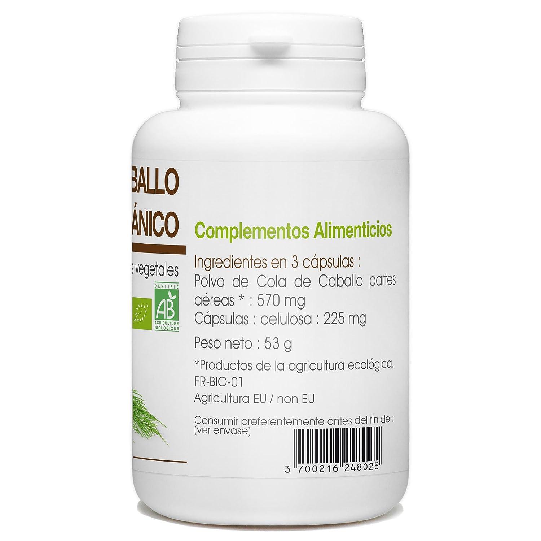 Cola de caballo Orgánico - Equisetum arvense - 190mg - 200 cápsulas vegetales: Amazon.es: Salud y cuidado personal