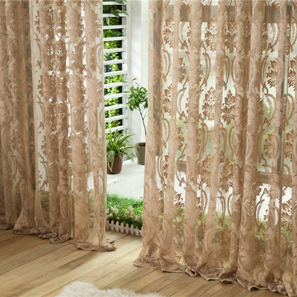 Peyan Flower Embroidered Chinese luxury 5D Curtains fabric Tulle Sheer Curtains for Bedroom Living Room Kitchen