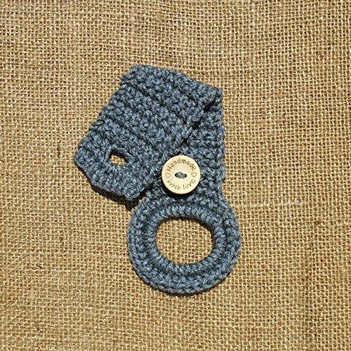 Crocheted Hanging Dish Towel Holder Grey