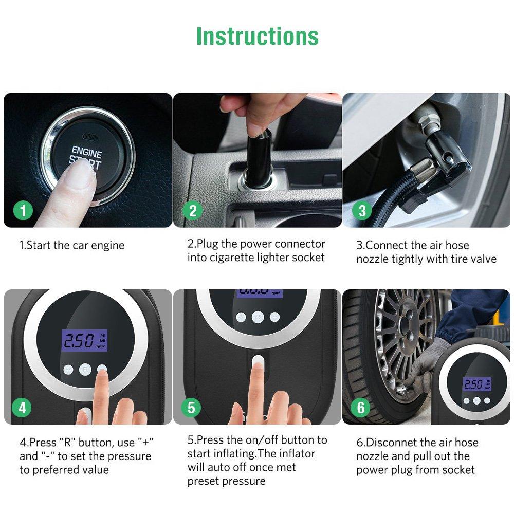 Compresor, aire rraycom 12 V Auto Bomba para neumáticos portátil con LED de luz y Digital de manómetro, 3 boquillas de alta presión para Auto Moto Bicicleta ...