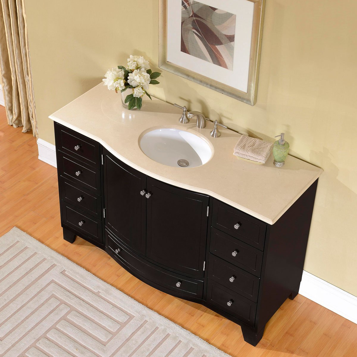 Amazon.com: Silkroad Exclusive Cream Marble Top Single White Sink Bathroom  Vanity With Espresso Cabinet, 55 Inch: Home U0026 Kitchen