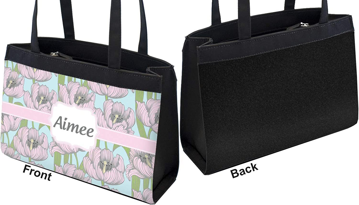 Front Wild Tulips Zippered Everyday Tote Personalized
