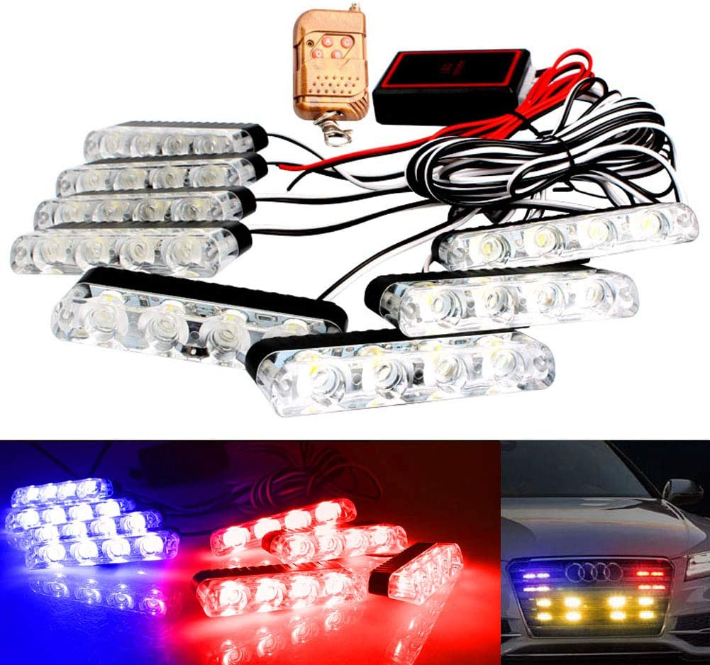 LED Emergency Strobe Lights Bars DIBMS 8x 4 LED Red Blue 8 in 1 Sync Surface Mount Grill Light Flash Warning Lights For Car Truck SUV Pickup DRL Ambulance Police Lights with Wireless Remote Control