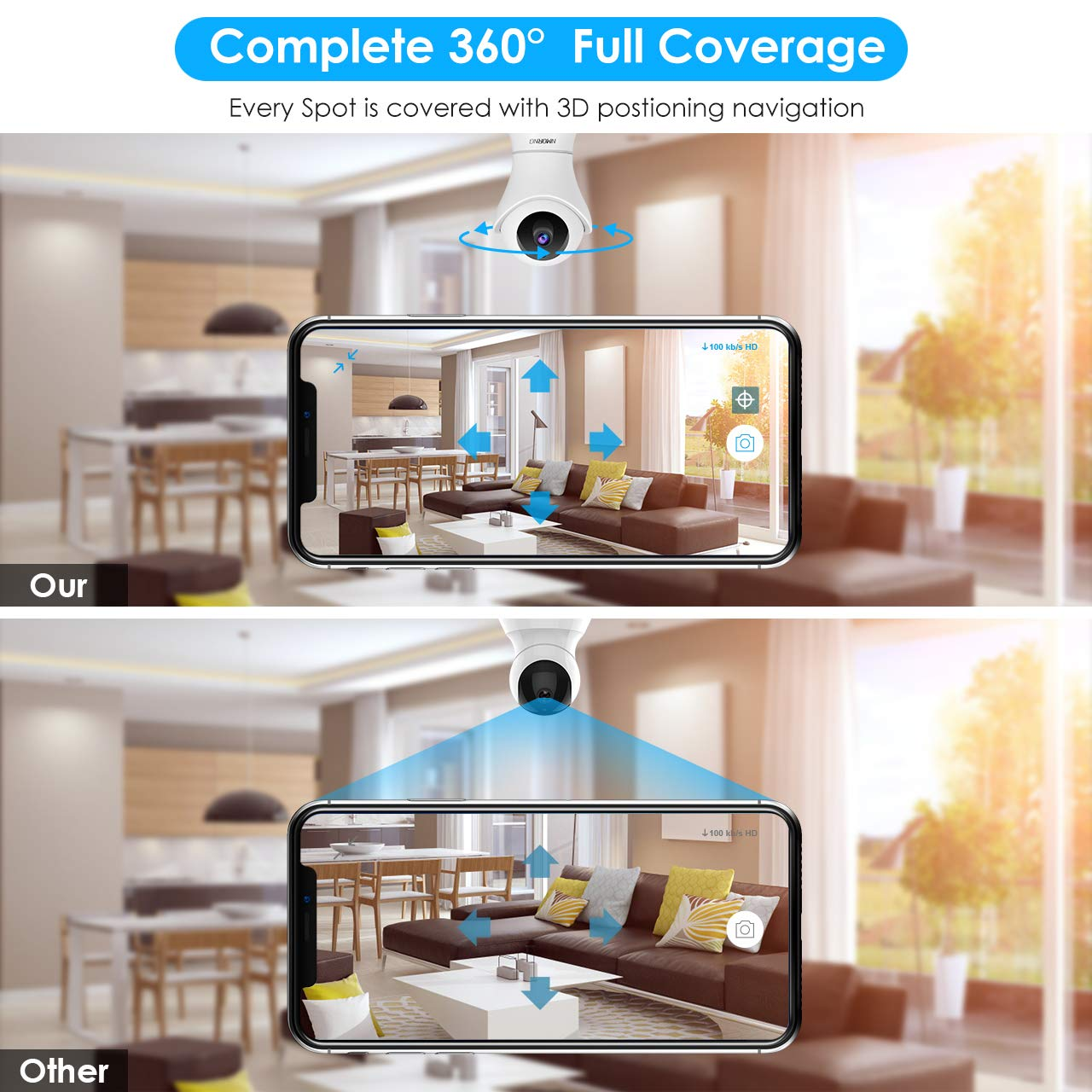 Pet Camera, 1080P Home Security Camera with Night Vision, Two-Way Audio, WIFI IP Camera for Baby Monitor, Auto-Cruise Baby Camera, Remote Control by App Indoor Camera, Cloud Storage by NMORNG (Image #4)