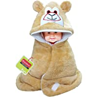 Brandonn Smiley Hooded Blanket Cum Wrapper for Babies (Beige)