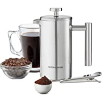 Andrew James Cafetière French Coffee Press in Stainless Steel   Double Walled Insulated   Includes Measuring Spoon and Bag Sealing Clip