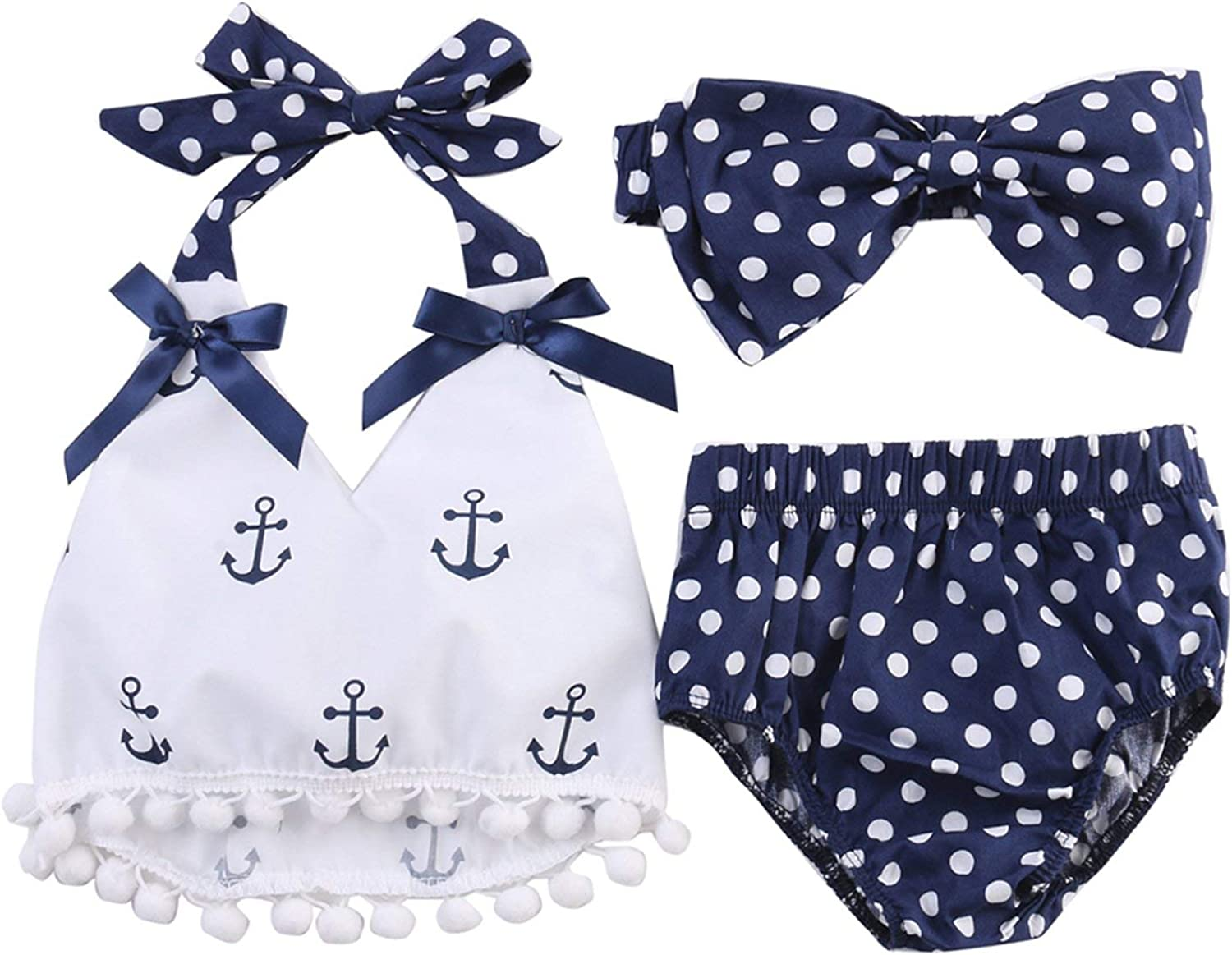 Infant Baby Girl Anchor Top with Polka Dots Bloomers Sunsuit Clothing Set