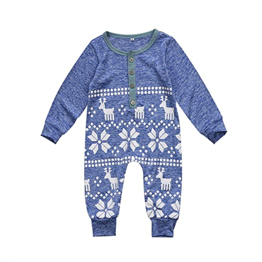 dc63ceaa00 BiggerStore Baby Girl Boy Christmas Romper Jumpsuit Long Sleeve One-Piece  Bodysuit Snowflake Deer Pajamas