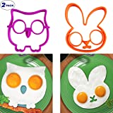 2 Pack Raytyestore Food Grade Silicone Fried Egg Shaper Lovely Purple Owl Shape and Cute Orange Rabbit Shape Egg Ring Pancake Molds