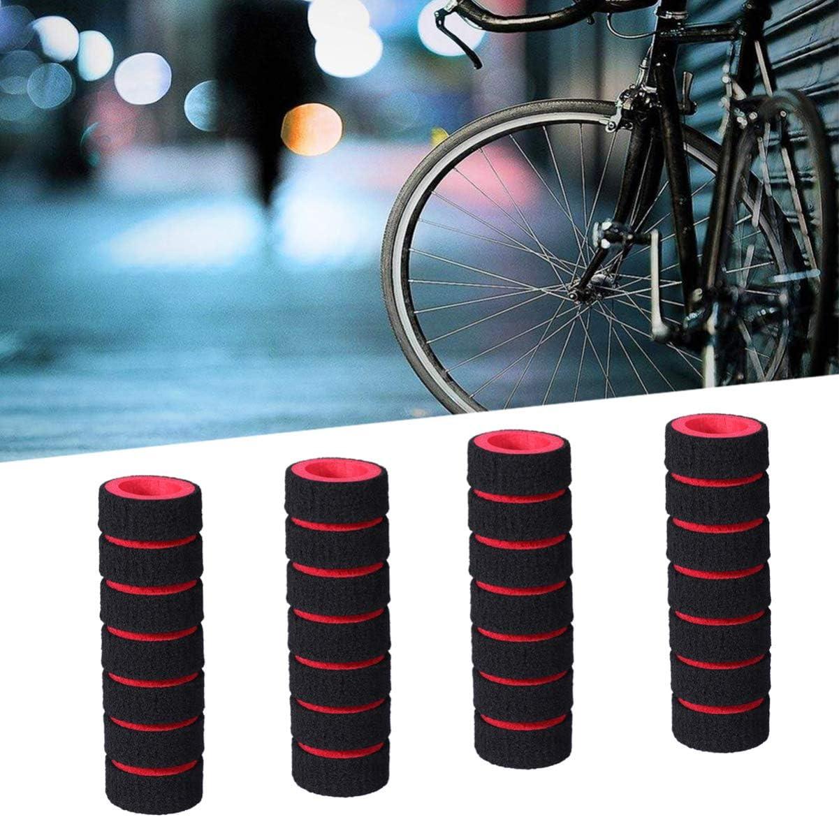 LIOOBO 2 Pares de manubrios con manubrio Mangos de Espuma Esponja Mangos Antideslizantes para Bicicleta de Carreras Bicicleta Motocicleta Rojo