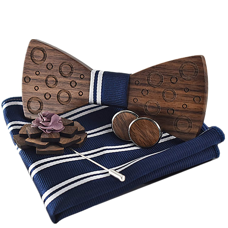 Steampunk-Style Nussbaum Holz Fliege mit Manschettenkn/öpfen Geschenkset Mozee Holz Fliege