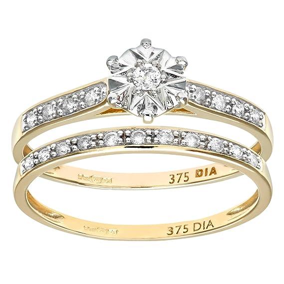 Naava - Anillo para Mujer de Oro Amarillo 9K con 20 Diamantes Talla 11