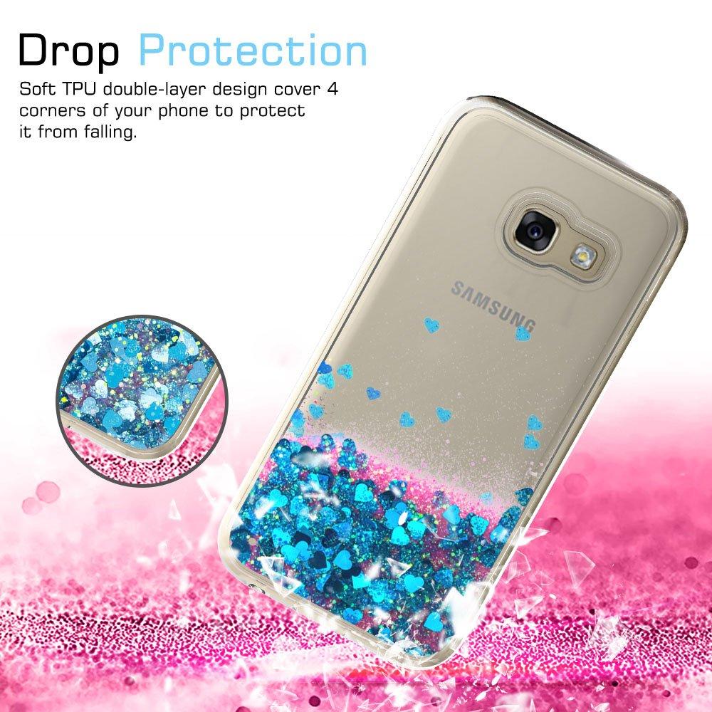 LeYi Compatible with Funda Samsung Galaxy A3 2017 con HD Protectores de Pantalla,Silicona Purpurina Carcasa Transparente Cristal Bumper Telefono Gel TPU ...