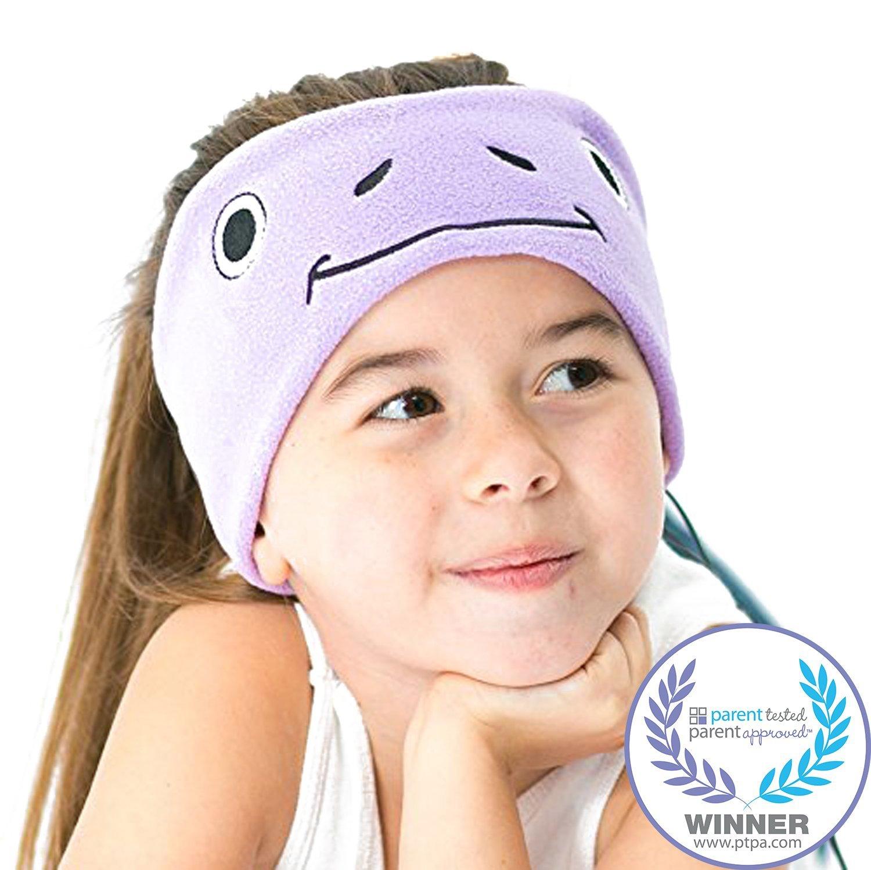6455d83d855 CozyPhones Kids Headphones Volume Limited with Ultra-Thin Speakers Soft  Fleece Headband - Perfect Children's Earphones for Home and Travel - Purple  Froggy