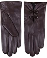WARMEN Stylish Women Genuine Nappa Soft Leather Lined Gloves with Cute Bow Hand Bags Tips
