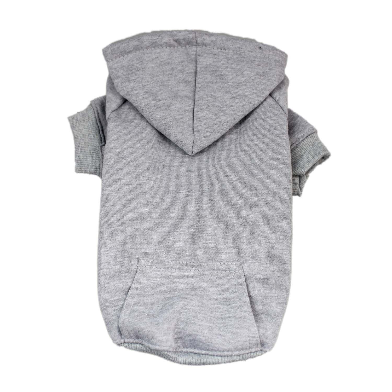 M DennyBella Basic Hoodie Sweatershirt Clothes Dogs (M, Grey)