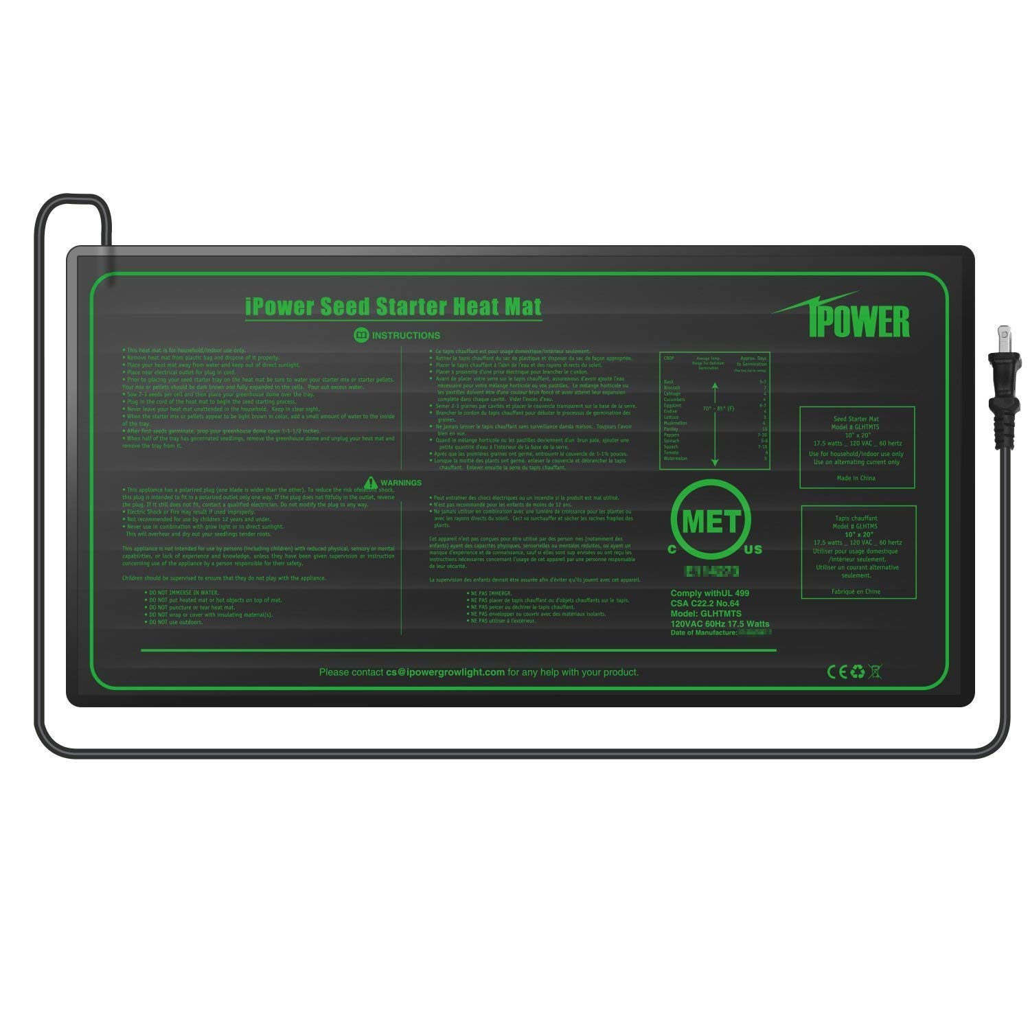 iPower 2 Pack 10'' x 20.5'' Warm Hydroponic Seedling Heat Mat and Digital Thermostat Control Combo Set for Seed Germination, Black by iPower (Image #2)