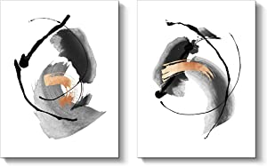 Abstract Painting Canvas Wall Art: Black and White Artwork Print on Canvas for Living Room ( 16'' x 12'' x 2 Panels )