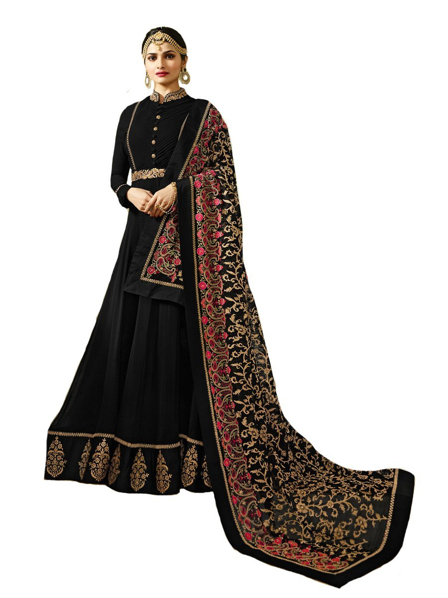 Delisa New Indian/Pakistani Designer Georgette Party Wear Anarkali Suit Maisa 04 (Black, SMALL-38)