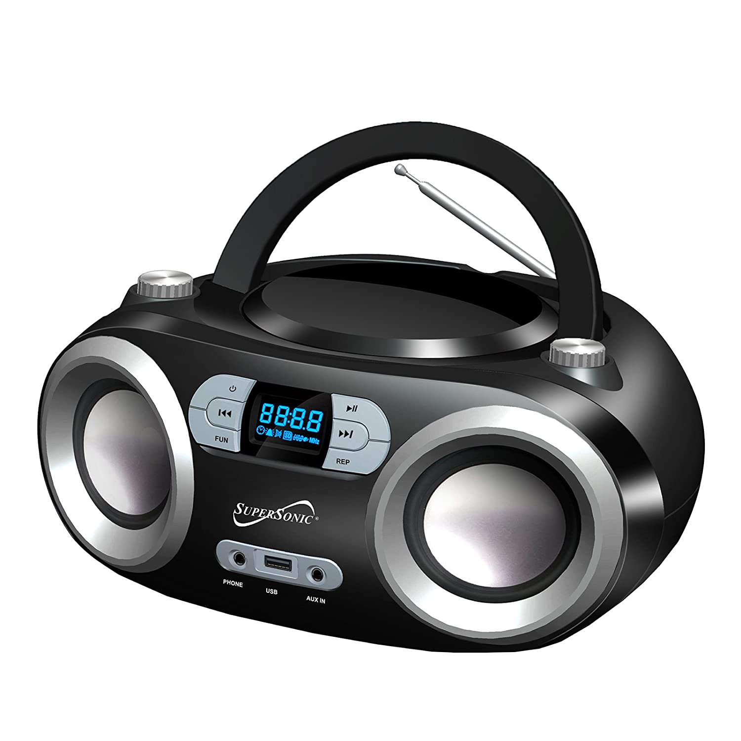 supersonic portable bluetooth audio system with mp3 cd. Black Bedroom Furniture Sets. Home Design Ideas