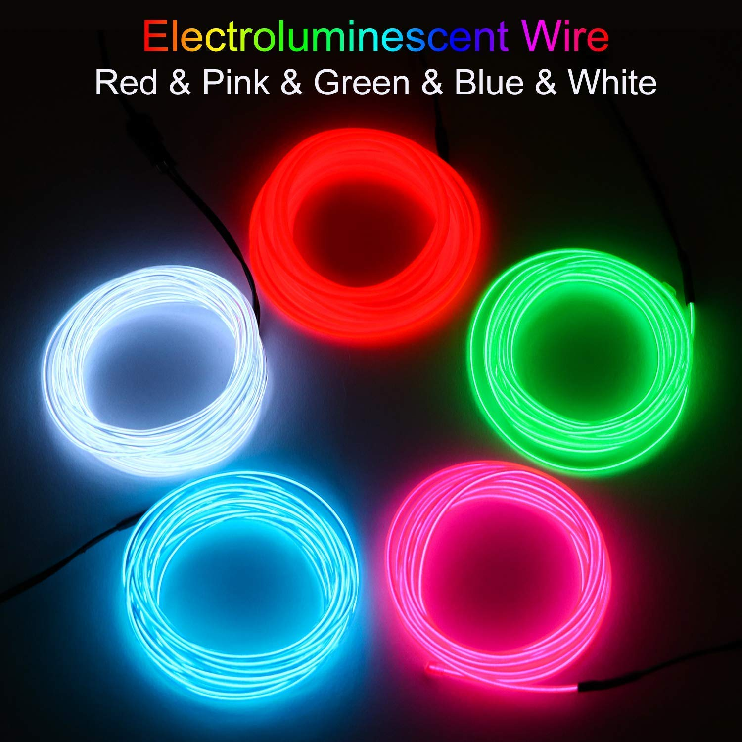 5x3m Neon Light Battery Powered Electroluminescent Wire Glowing Strobing Decorative Light for Xmas Party Pub Litake EL Wire