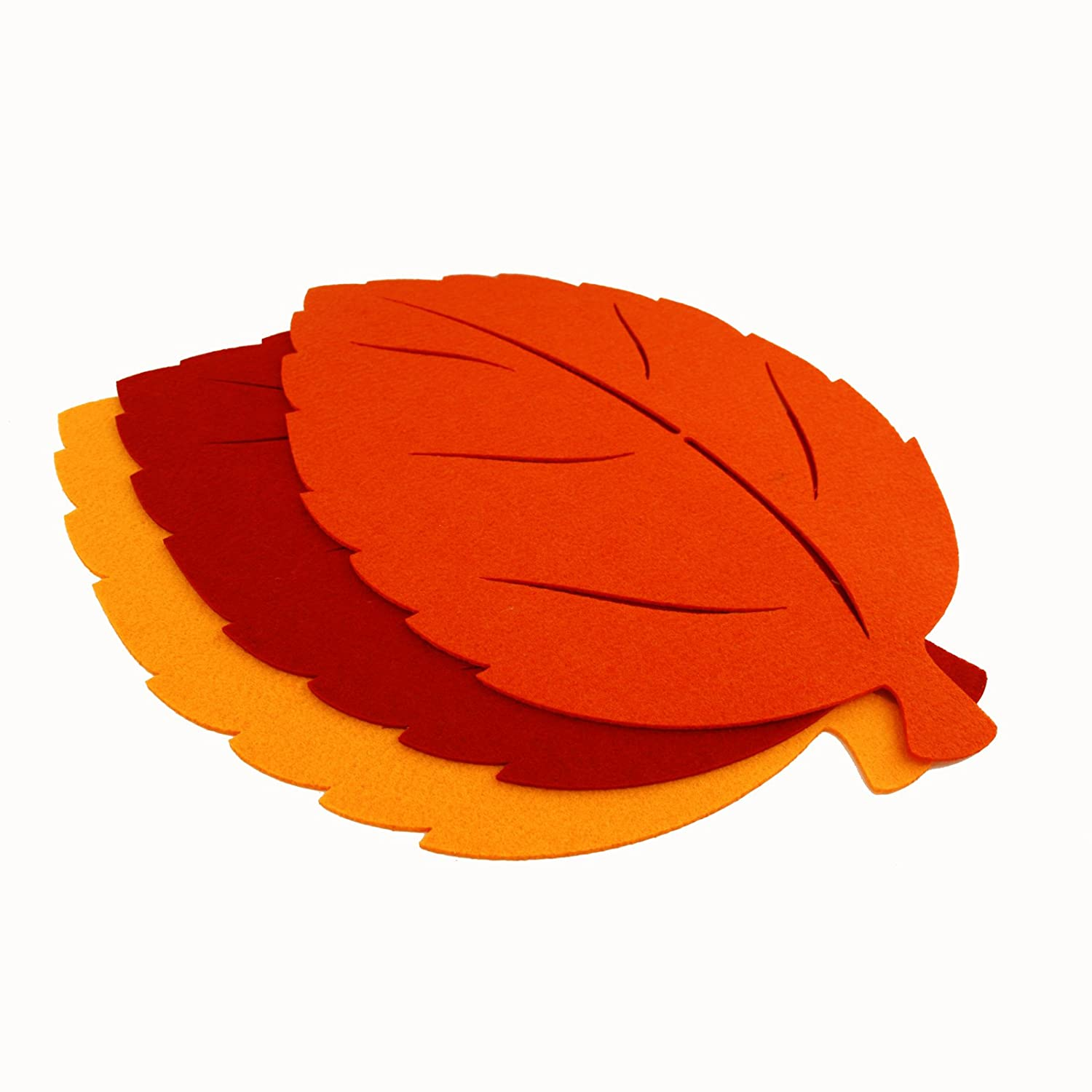 FloristryWarehouse Felt Large Fall Leaves for Craft Red Orange Gold Pack of 3