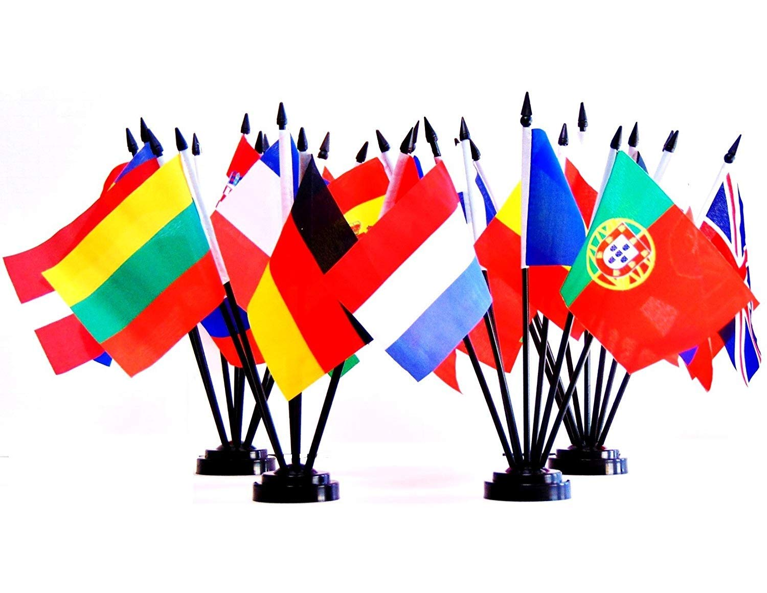 European Union (EU) World Flag Set with BASES-28 Polyester 4''x6'' Flags, One Flag for Each Country in The European Union (EU) Flag Centerpiece, 4x6 Miniature Desk & Table Flags, Small Mini Stick Flags by World Flags Direct