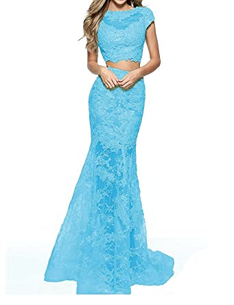 Lily Wedding Womens Sexy Lace 2 Piece Prom Dresses 2018 Long Mermaid Formal Evening Gown D67 at Amazon Womens Clothing store: