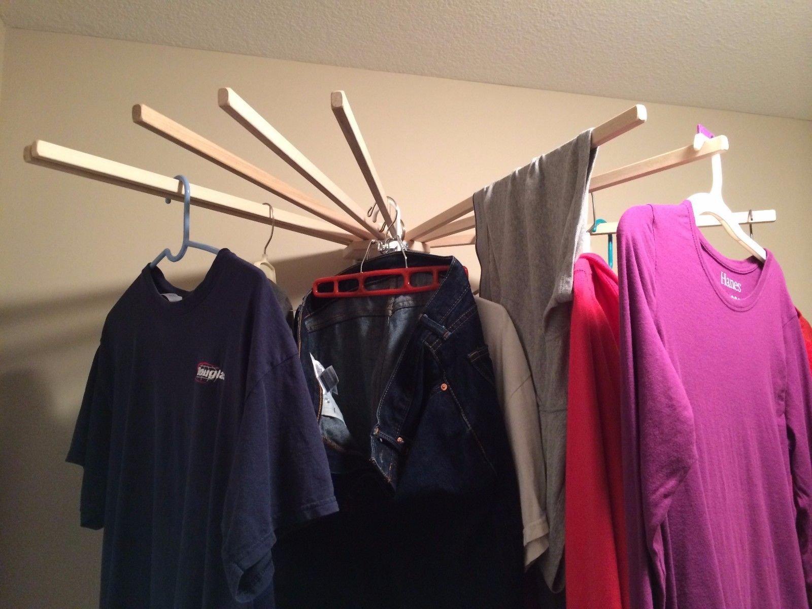 Generic NV_1008003292_YC-US2 Rackhol Mounted Foldable Wall New Indoor ed Fo Laundry Clothes e Lau Household Wood Wall Cloth Drying Rack New Ind by Generic (Image #1)