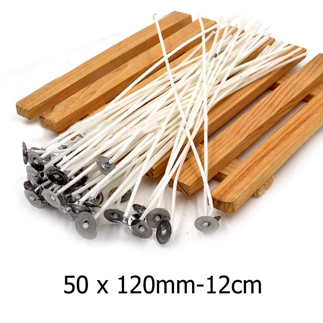 50PCS 12cm bianco lungo pre in cotone cerato stoppini Core making con elementi di sostegno 11, 9cm Warehouseshop