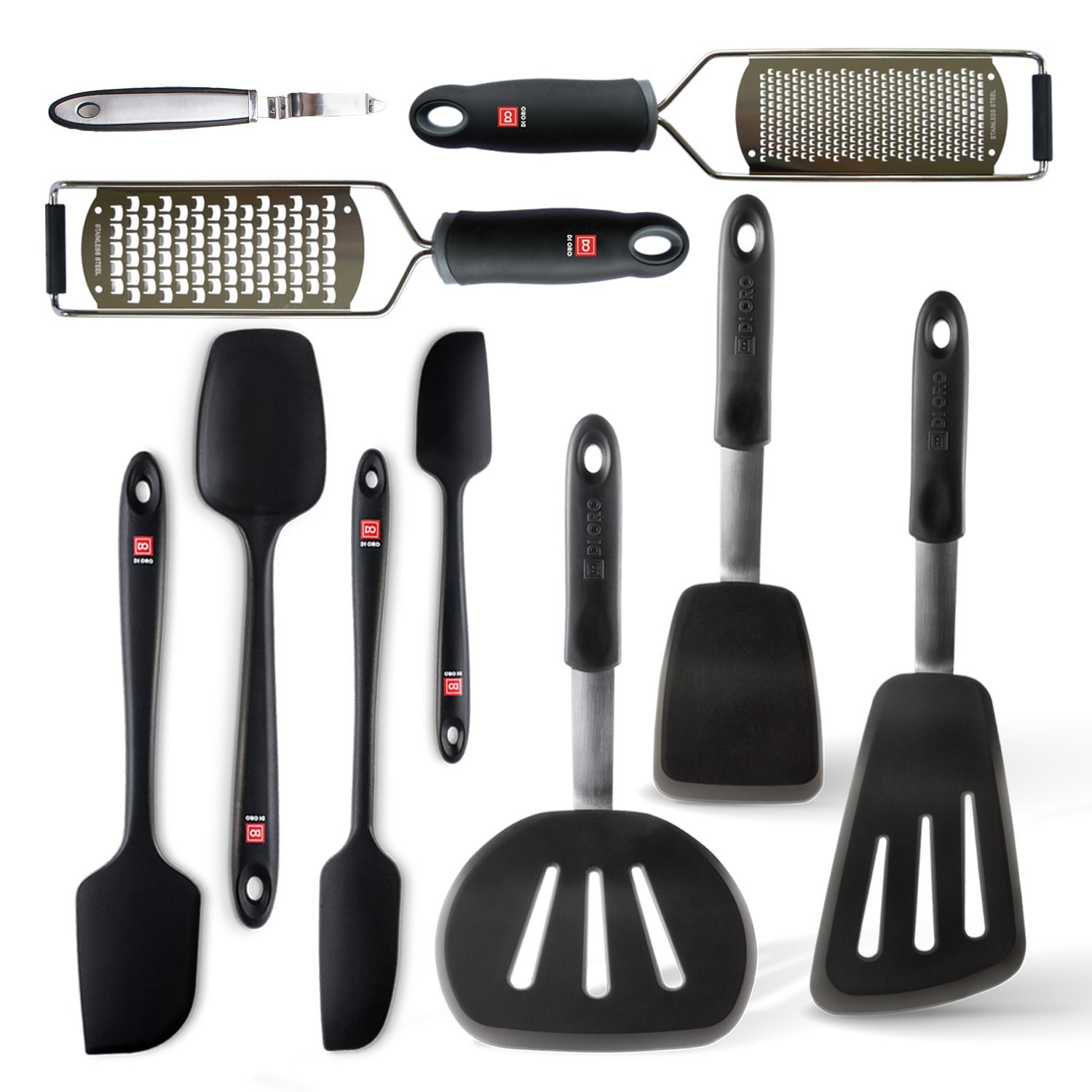 Di Oro Complete 10-Piece Silicone Kitchen Utensil Set -7 Silicone Heat-Resistant Kitchen Spatulas, Zester, Cheese Grater, and Potato Peeler - Makes a Great Gift for All Occasions (10 Pc, Black) by di Oro Living