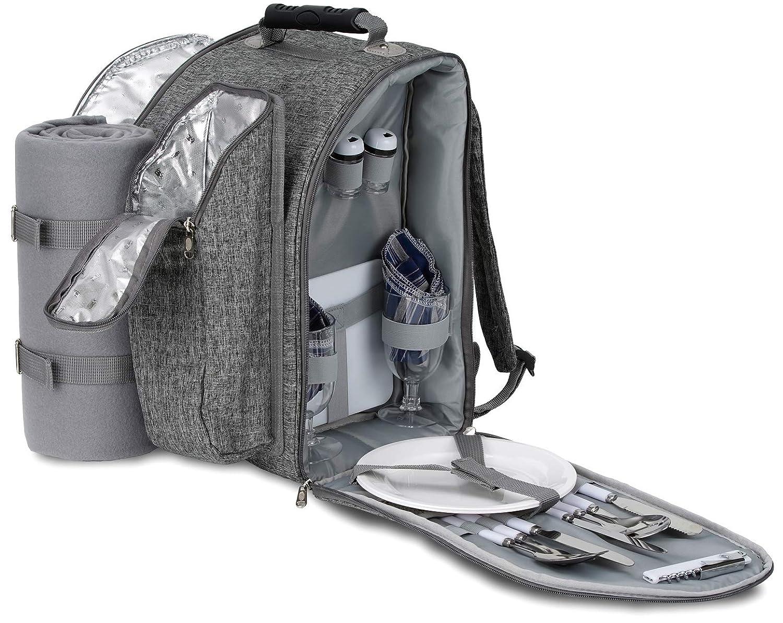 *Brubaker Picknickrucksack für 2 Personen Grau Melange 28 × 22 × 40 cm – mit Flaschenhalter und Decke*