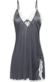 122cdd83ce3 Ekouaer Sexy Lingerie Women s Sleepwear Satin Lace Chemise Nightgown XS-XXL
