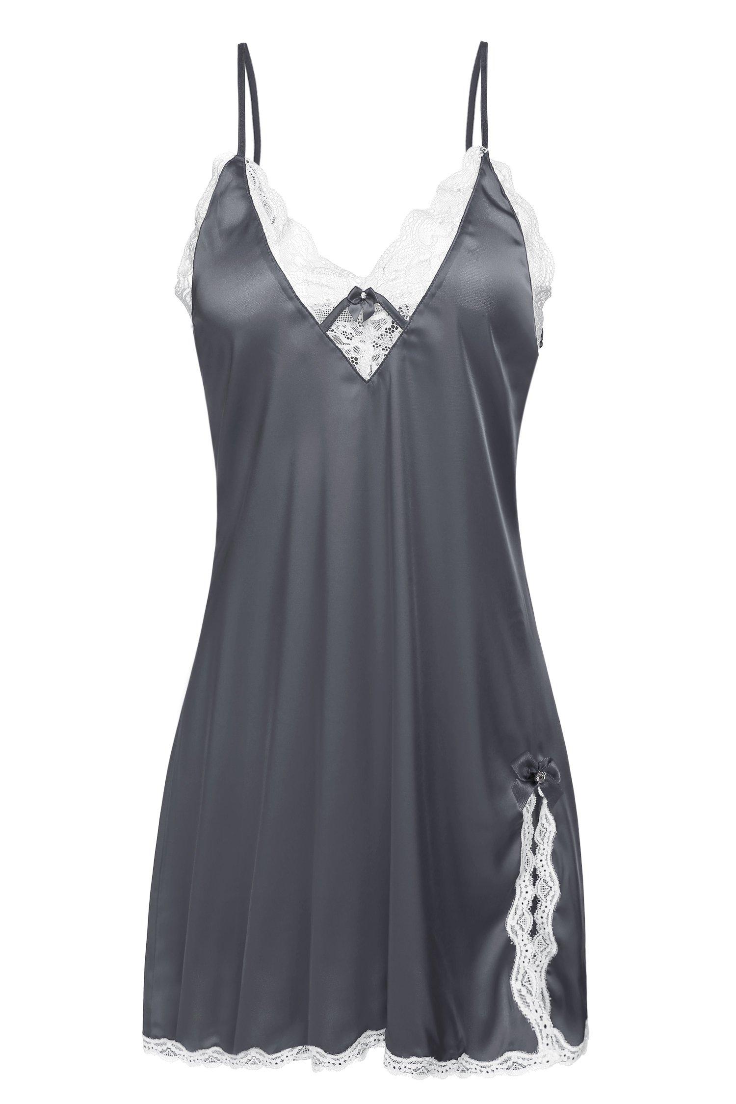 Ekouaer Women's Baby Doll Nightgown Lace Chemise Night Dress, Gray,XL
