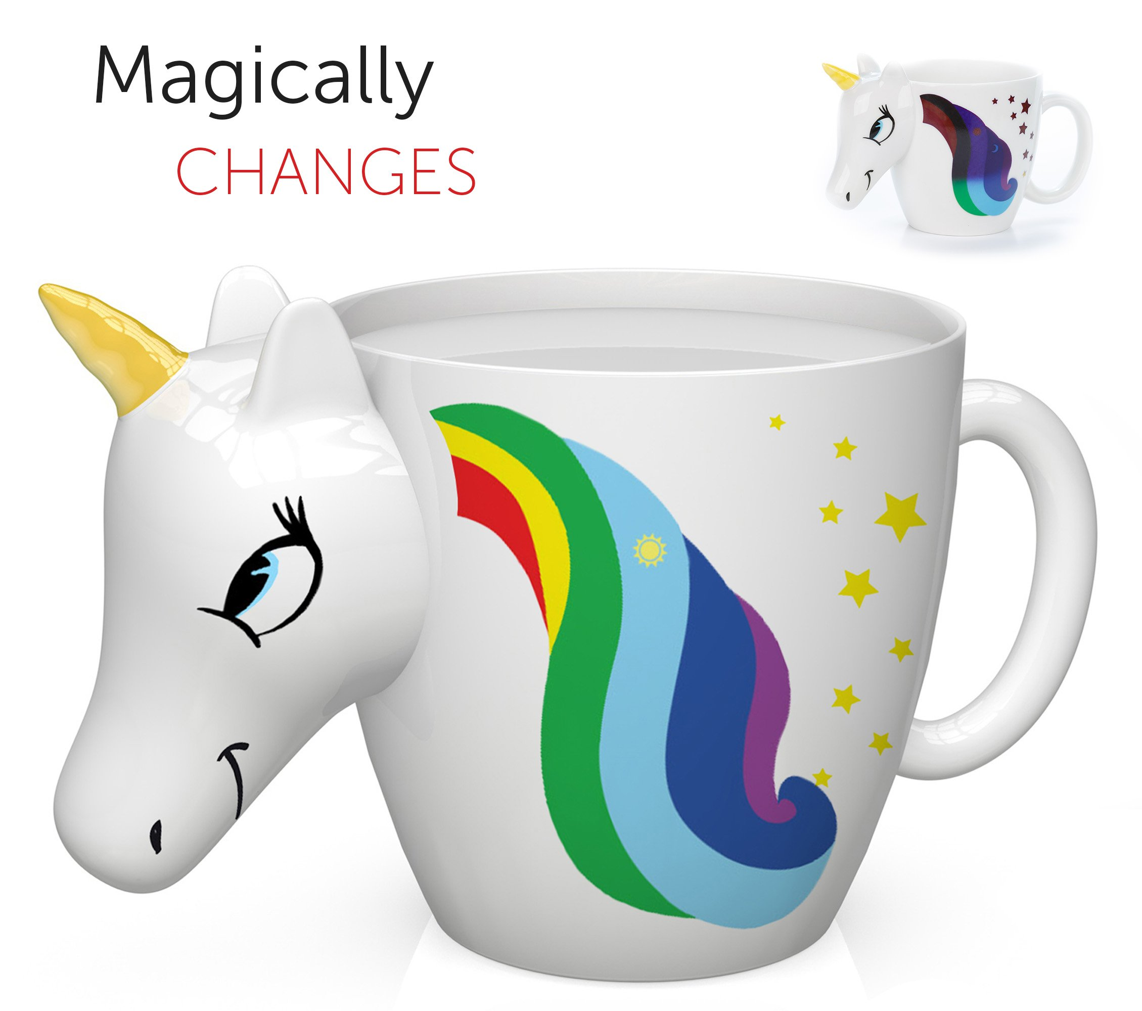 Unicorn Mug - 3D Color Changing Coffee Mugs 2018 Design, Your morning cup of coffee or tea will never be the same! Our ceramic mugs will start your day with a magic rainbow. Great Unicorns Gifts!
