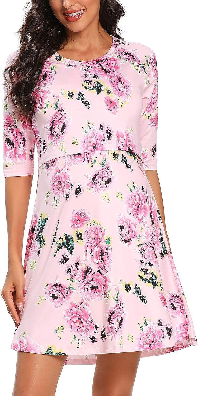 Glampunch Womens Maternity Dress Labor Delivery Nursing Nightgown Half Sleeves Loose Nightshirt Breastfeeding Sleepwear