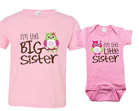 Baby Tops 6 Months Sibling Tshirt, Owl I'm the Big Sister, Includes Size 3 and 0-3 mo