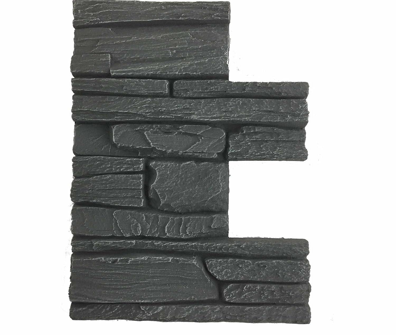 Revestimiento mural en piedra óptica para cocina - terraza - dormitorio - salón | Paneles para paredes mediterráneas de espuma dura | 30cm x 40cm (Gris ...