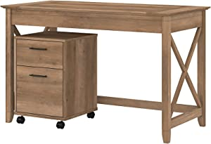Bush Furniture Key West Writing Desk with 2 Drawer Mobile File Cabinet, 48W, Reclaimed Pine