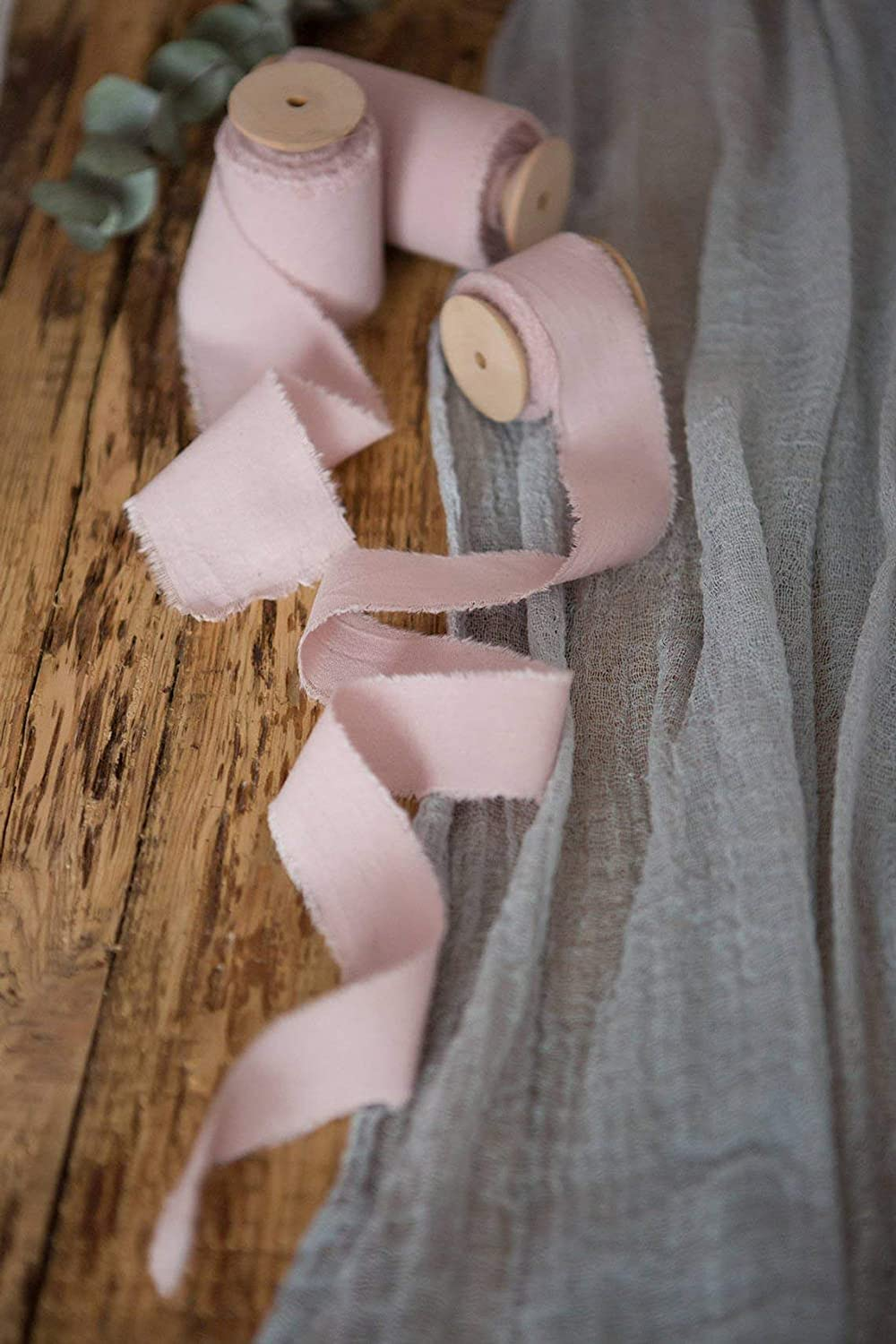 Blush muslin cotton frayed edges hand dyed ribbon 1 5 yards favors wrap and bouquet supplies Pale pink wedding invitation ribbon