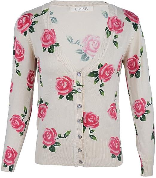 50s Roses rosas V de cuello de punto chaqueta/Cardigan ...