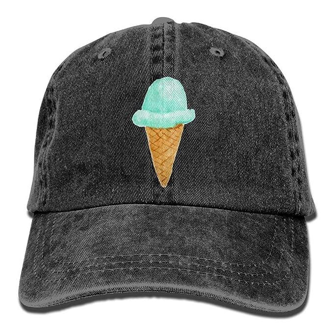 Image Unavailable. Image not available for. Color  Ice Cream Denim Baseball  Caps Hat Adjustable Cotton Sport Strap Cap Men Women 68a29765f394