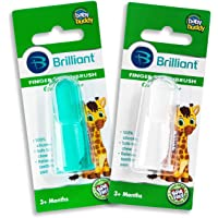 Baby Buddy Finger Toothbrush Stage 2 for Babies/Toddlers, Kids Love Them, Clear/Green, 2 Count
