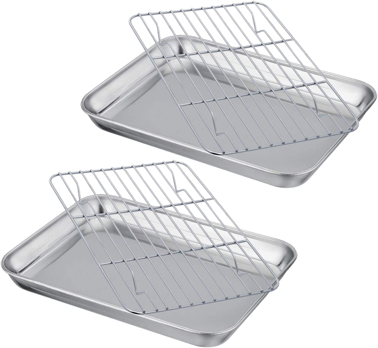 Coobbar Thickened Baking Sheet with Cooking Rack Set, Compact Stainless Steel Baking Pan and Cooling Rack, Heavy Duty Quality & Mirror Finish & Easy Clean & Dishwasher Safe (2 sets, 4 pieces)