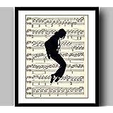 マイケルジャクソンポスターミュージックアートプリントミュージックプリントジクレーヴィンテージ辞書プリント、ミュージックアートプリント、ウォールアート、家の装飾、フレーム付き45×35 cm