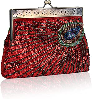 Women's Fashion Designer Elegant Purse Vintage Clutch Sequin Teal Peacock Unusual Antique Beaded Sequin Evening Handbag